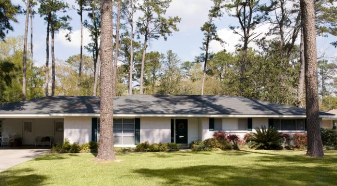 typical ranch style home built in the 1960's in small American town