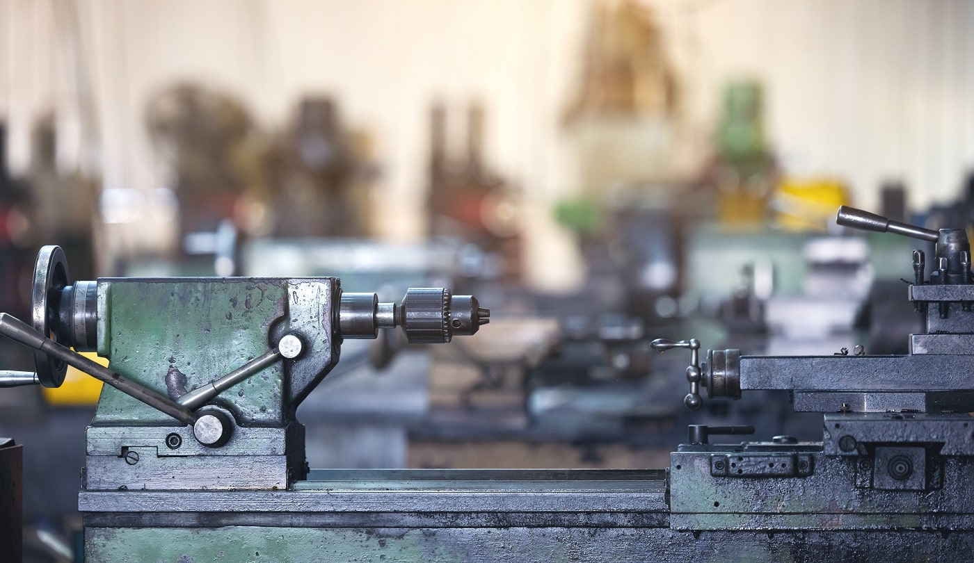 Blurred background cutting metal processing technology.