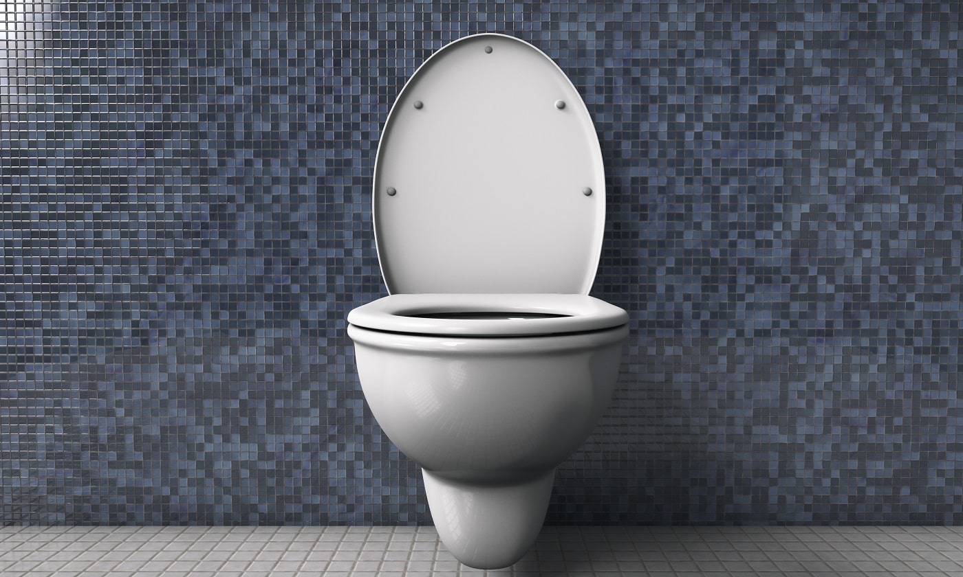 Ceramic white toilet bowl in the restroom. No people