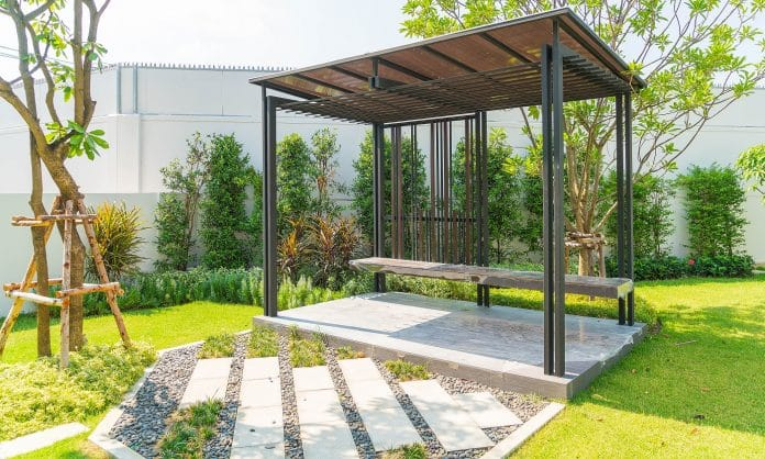 empty pavilion in garden - boost up color processing