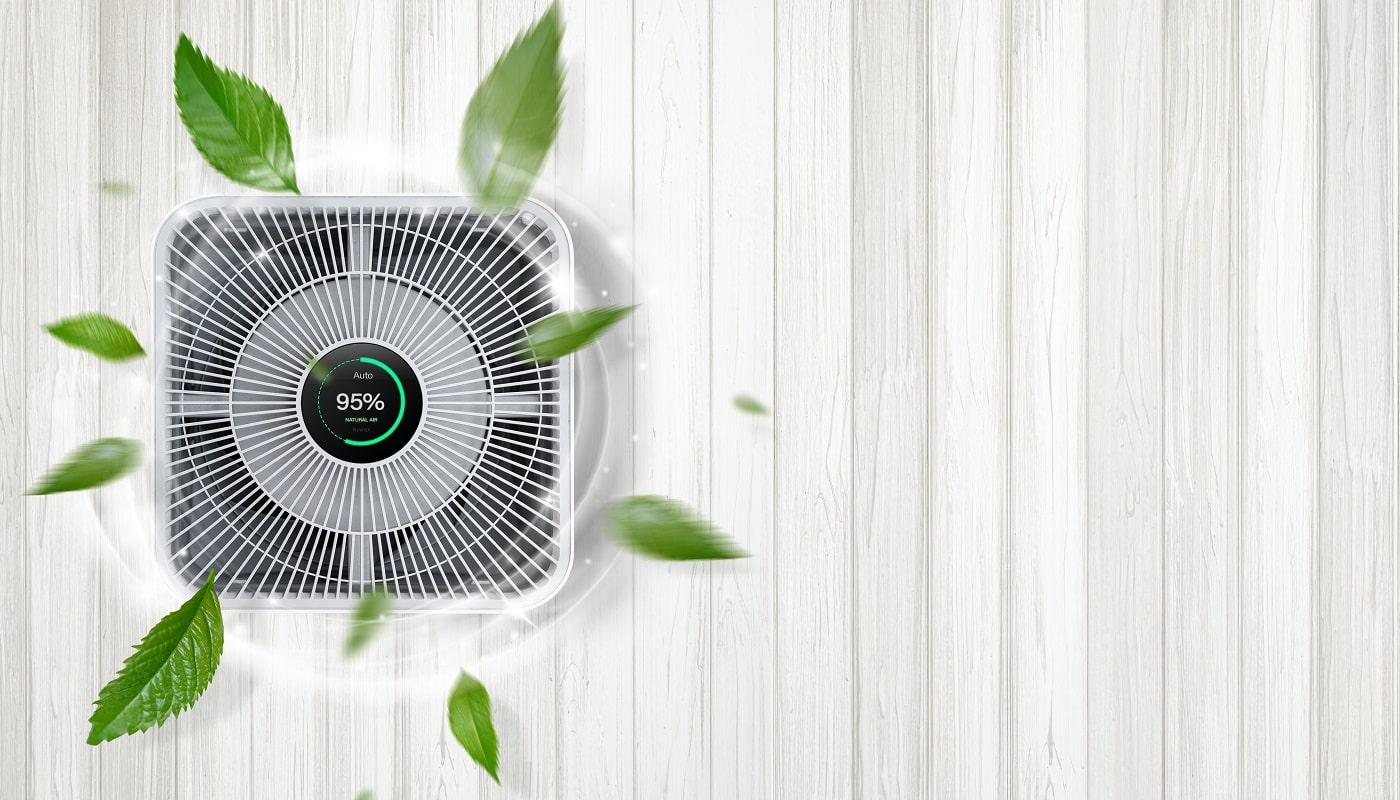Air purifier a living room, air cleaner removing fine dust in house. Protect pm 2. 5 dust and air pollution concept