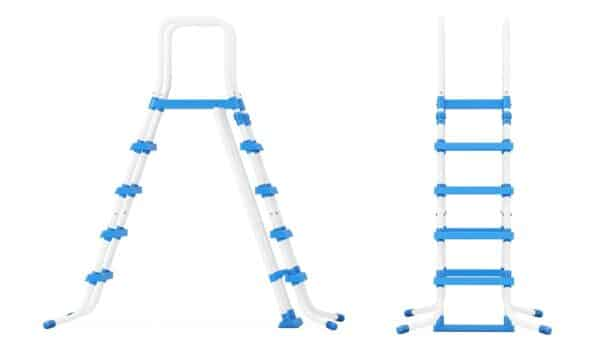 Plastic outdoor swimming pool ladders on a white background. 3d rendering.