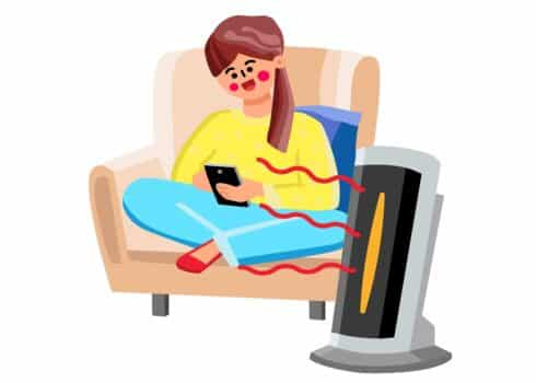 Space heater device for air warming home vector. Young woman sitting in armchair and use smartphone, space heater gadget heating room. Character girl and electronic equipment flat cartoon illustration
