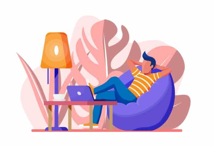 Freelancer with laptop in beanbag chair. Relaxed freelance businessman work at home. Character in casual clothes sitting with computer. Table, lamp, coffee and plant. Flat style vector