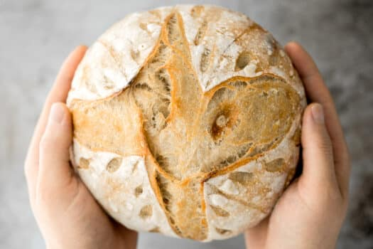 Small batch sourdough bread is airy and chewy with a crisp crust and a mild flavour. It takes less than 15 minutes of actual prep and requires no kneading.   aheadofthyme. Com