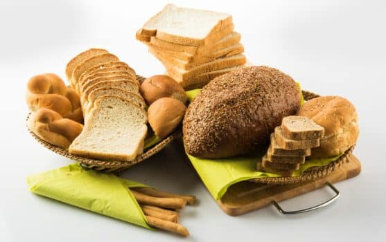 Group of different bread or types of breads on a white background